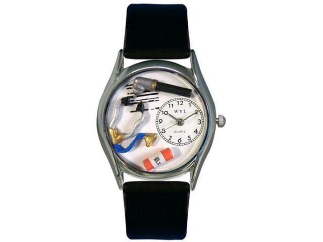 Doctor Black Leather And Silvertone Watch #S0610001