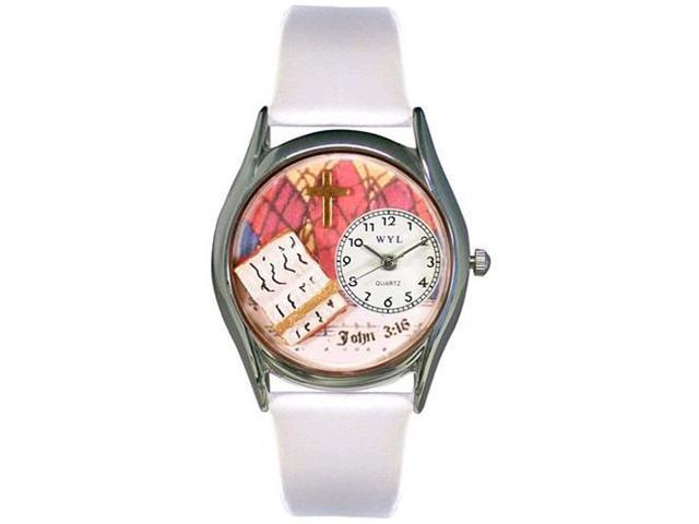 John 3:16 White Leather And Silvertone Watch #S0710001