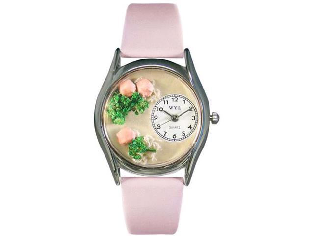 Roses Pink Leather And Silvertone Watch #S1210005