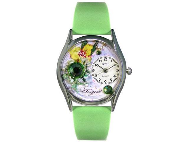 Birthstone: August Green Leather And Silvertone Watch #S0910008
