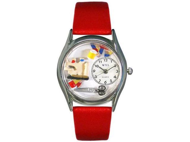 Quilting Red Leather And Silvertone Watch #S0440004