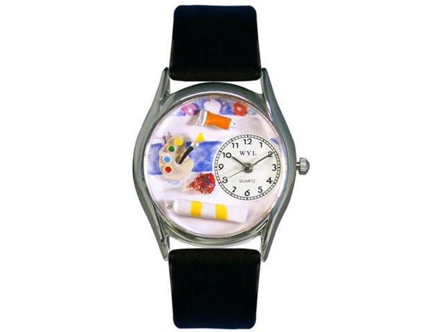 Artist Black Leather And Silvertone Watch #S0410001