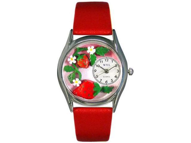 Strawberries Red Leather And Silvertone Watch #S1210006