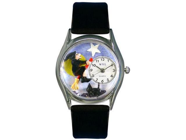 Halloween Flying Witch Black Leather And Silvertone Watch #S1220009