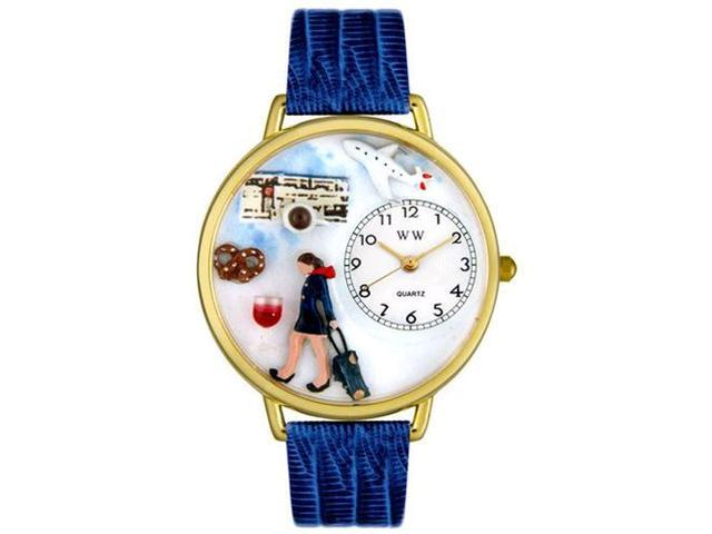 Flight Attendant Royal Blue Leather And Goldtone Watch #G0610007