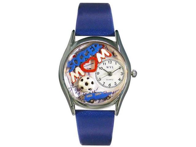 Soccer Mom Royal Blue Leather And Silvertone Watch #S1010002