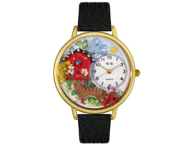 Birdhouse Cat Black Skin Leather And Goldtone Watch #G0120005