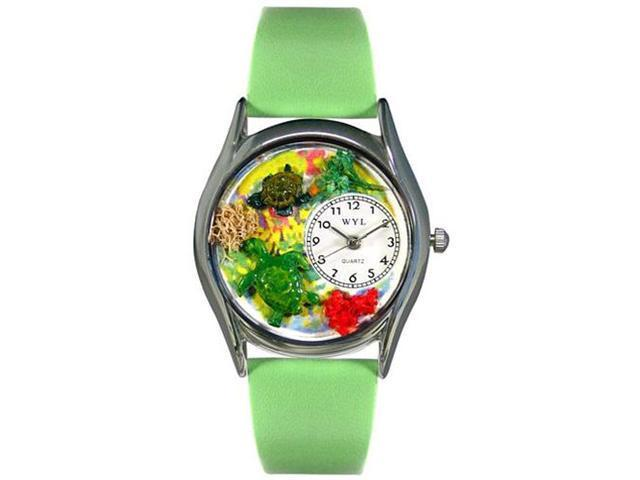 Turtles Green Leather And Silvertone Watch #S0140004