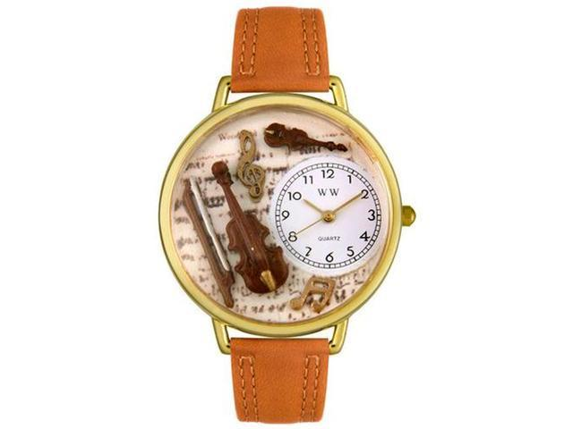 Violin Tan Leather And Goldtone Watch #G0510002