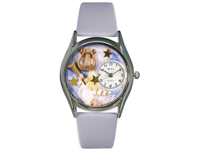 Angel with Harp Baby Blue Leather And Silvertone Watch #S0710009