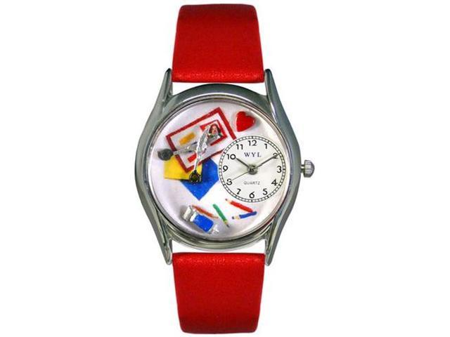 Scrapbook Red Leather And Silvertone Watch #S0410002