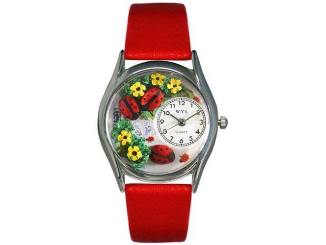 Ladybugs Red Leather And Silvertone Watch #S1210004