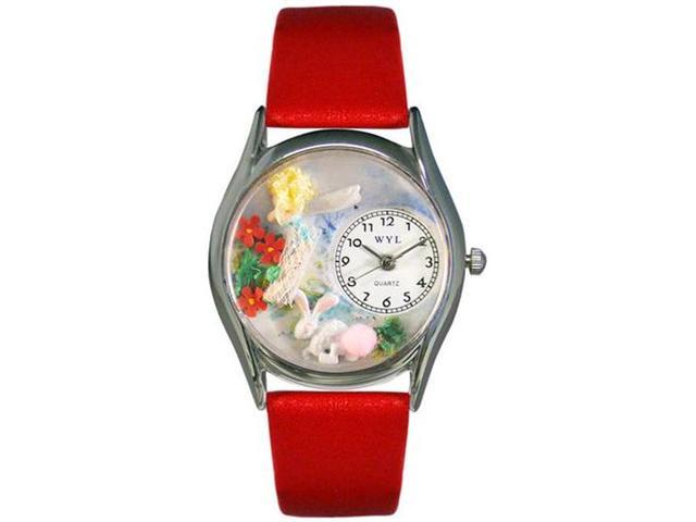 Garden Fairy Red Leather And Silvertone Watch #S1211004