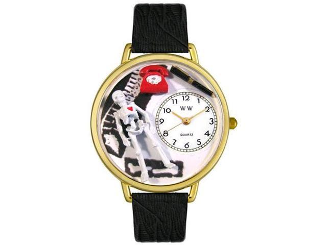 Orthopedics Black Skin Leather And Goldtone Watch #G0620020