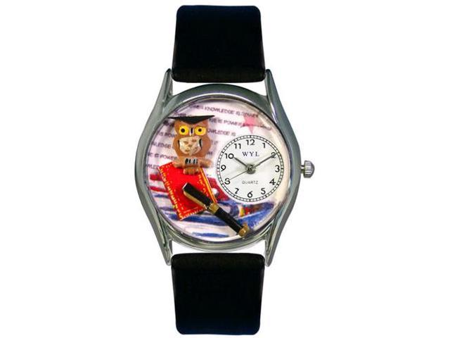 Knowledge Is Power Black Leather And Silvertone Watch #S0640006