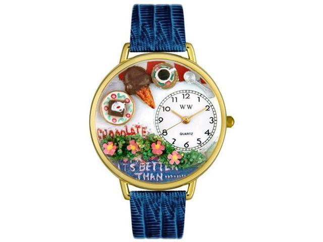 Chocolate Lover Royal Blue Leather And Goldtone Watch #G0310007