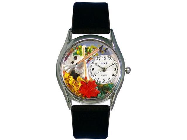 Autumn Leaves Black Leather And Silvertone Watch #S1213001