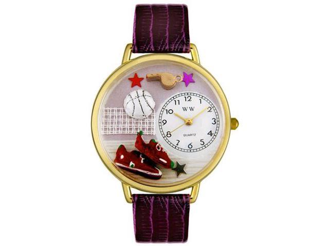 Volleyball Purple Leather And Goldtone Watch #G0820013