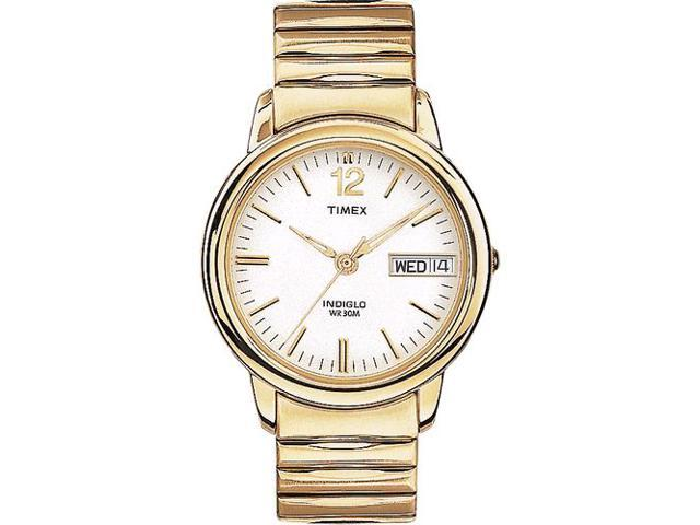 Timex Men's T21942 Gold Gold Tone Quartz Watch with White Dial