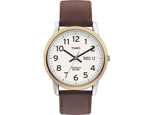 Timex Men's T20011 Brown Leather Quartz Watch with White Dial