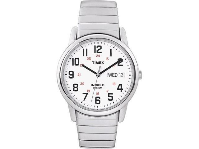 Timex Men's T20461 Silver Stainless-Steel Quartz Watch with White Dial