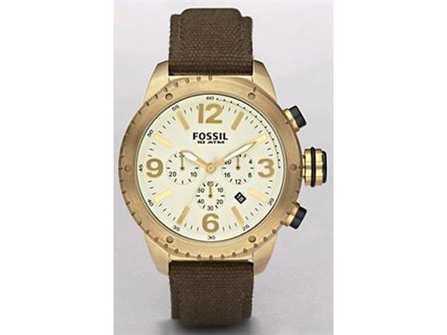 Fossil Men's DE5005 Brown Cloth Quartz Watch with White Dial