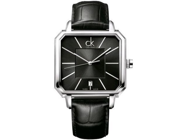 Calvin Klein Men's K1U21107 Black Crocodile Leather Swiss Quartz Watch with Black Dial