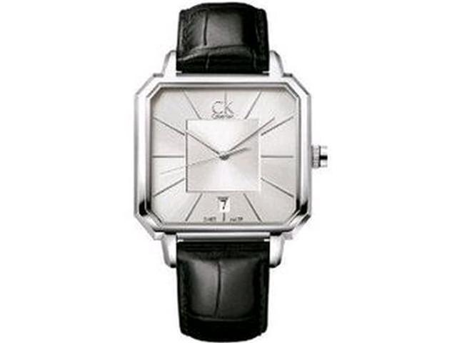 Calvin Klein Men's K1U21120 Black Leather Swiss Quartz Watch with Silver Dial