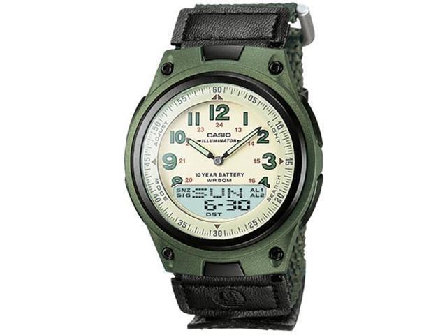 Casio Men's AW80V-3BV Green Nylon Quartz Watch with White Dial