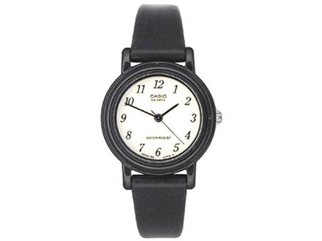 Casio Women's LQ139B-1B Black Resin Quartz Watch with White Dial