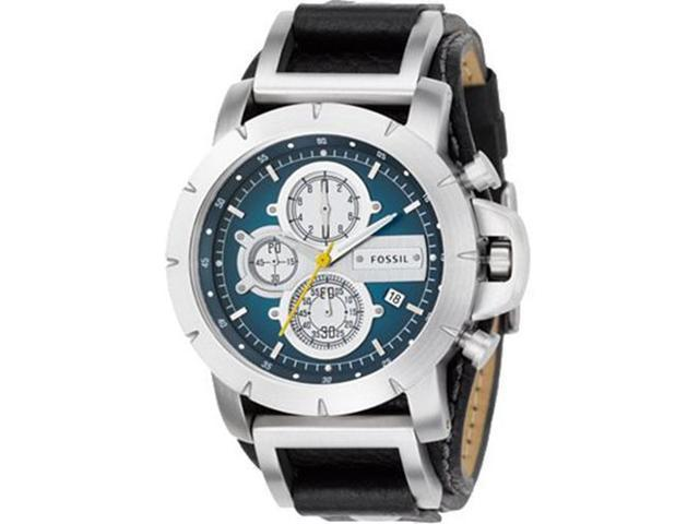 Fossil Men's Trend JR1156 Black Leather Analog Quartz Watch with Blue Dial