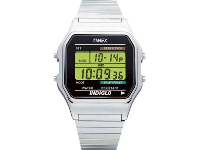 Timex Men's T78587 White Stainless-Steel Quartz Watch with Green Dial