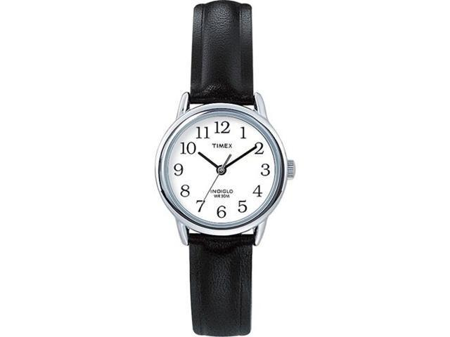 Timex Women's T20441 Black Leather Quartz Watch with White Dial