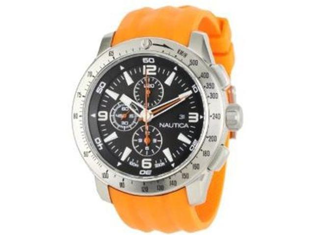 Nautica Men's N17568G Orange Resin Quartz Watch with Black Dial