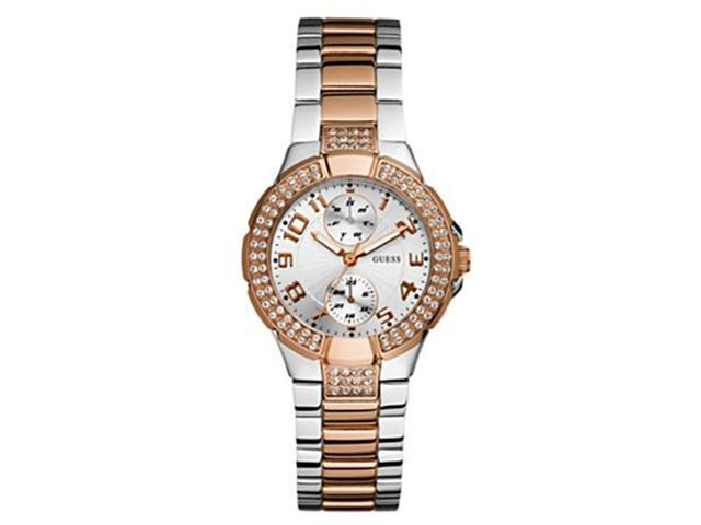 Guess Silver Dial Two-tone Stainless Steel Ladies Watch U13586L2