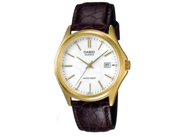 Casio Men's MTP1183Q-7A Brown Leather Quartz Watch with White Dial