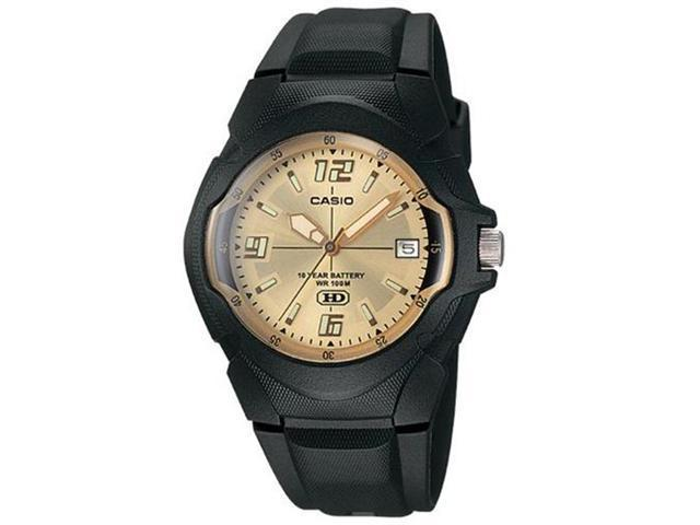 Casio Men's MW600F-9AV Black Resin Quartz Watch with Gold Dial