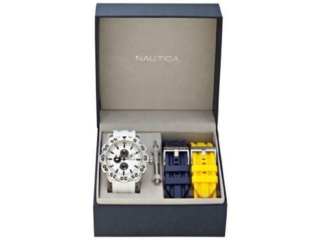 Nautica Box Set BFD 100 Multifunction White Dial Men's watch #N19566G