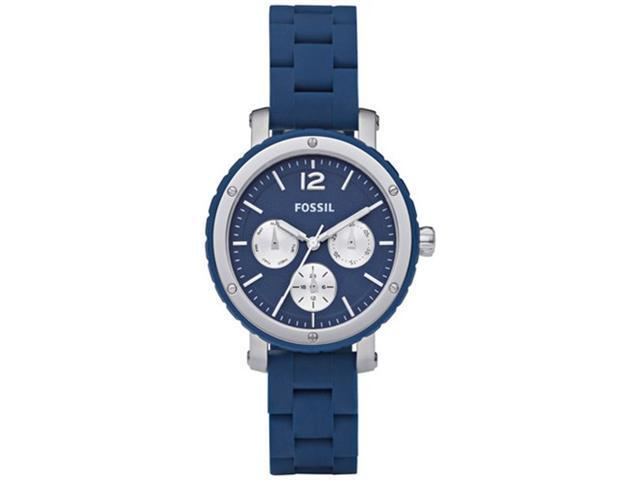 Fossil Women's BQ9406 Blue Silicone Quartz Watch with Blue Dial