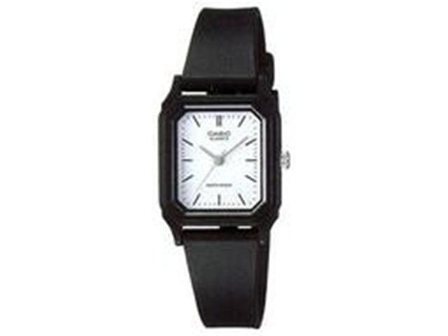 Casio Women's LQ142-7B Black Resin Quartz Watch with White Dial