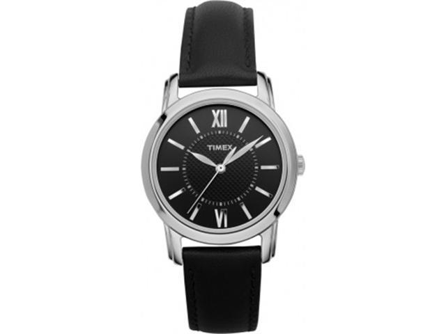 Timex T2N681 Women's Black Leather Quartz Watch with Black Dial