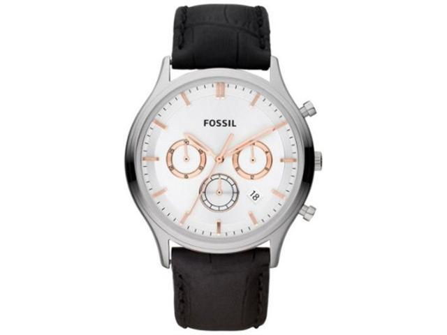 Fossil Men's FS4640 Black Crocodile Leather Analog Quartz Watch with Silver Dial
