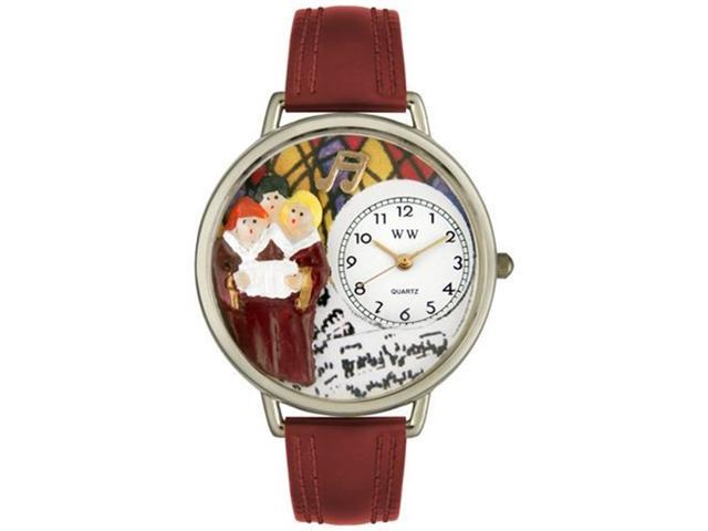 Choir Burgundy Leather And Silvertone Watch #U0710012