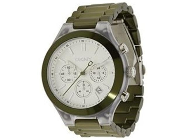 DKNY Women's NY8268 Green Plastic Quartz Watch with Silver Dial