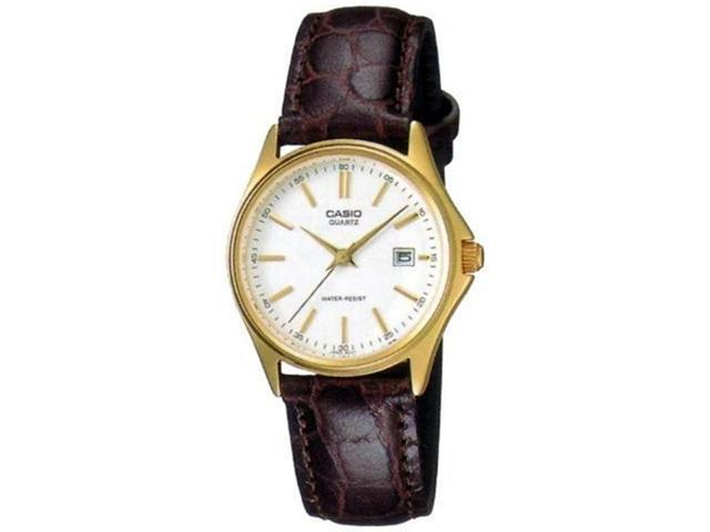 Casio Women's LTP1183Q-7A Brown Leather Quartz Watch with White Dial