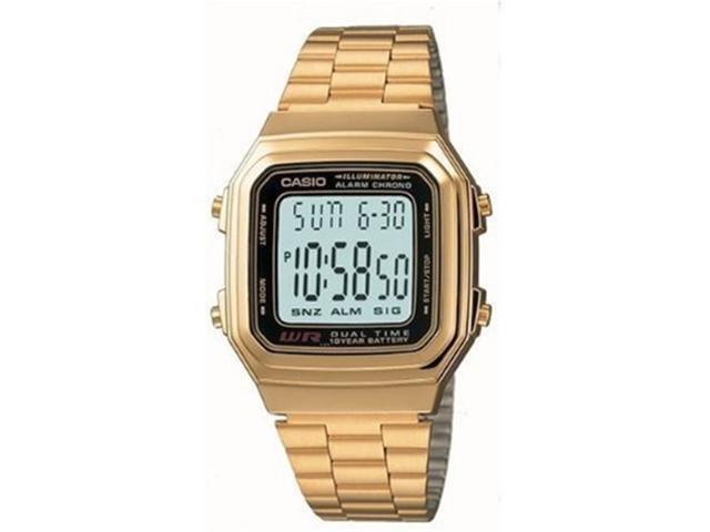 Casio A178WGA-1A Men's Grey Dial Gold Stainless Steel Quartz Watch