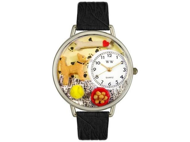 Chihuahua Black Skin Leather And Silvertone Watch #U0130023