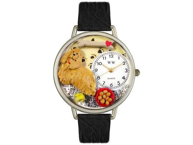 Cocker Spaniel Black Skin Leather And Silvertone Watch #U0130027
