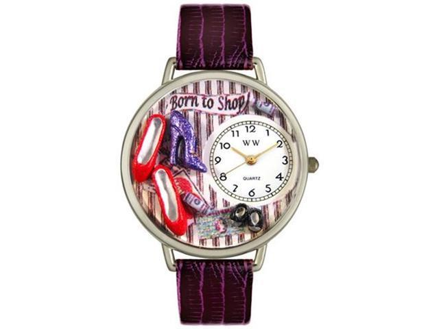 Shoe Shopper Purple Leather And Silvertone Watch #U1010005