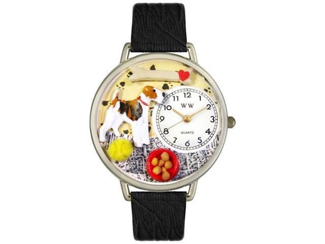 Fox Terrier Black Skin Leather And Silvertone Watch #U0130039